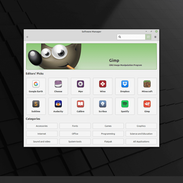 Linux Mint 20 Software Manager