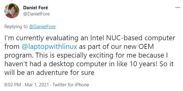 NUC10 Elementary Os Tweet